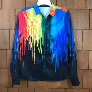 Fashion Classic colorful paint dripping button up